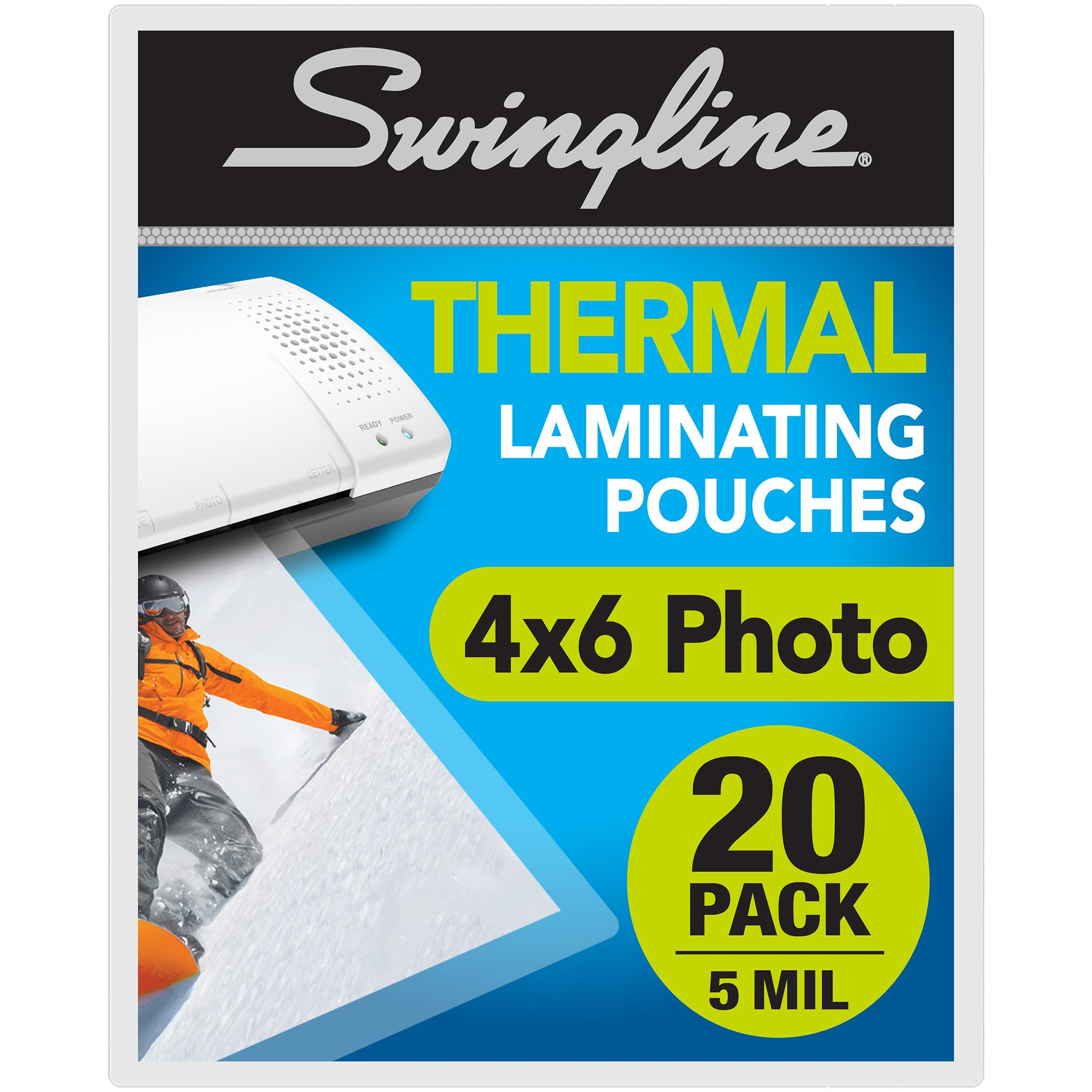 Swingline Thermal Laminating Sheets, Pouches, 4'' x 6'' Photo Size Pouch, 5 mil, 20 Pack (3202014)