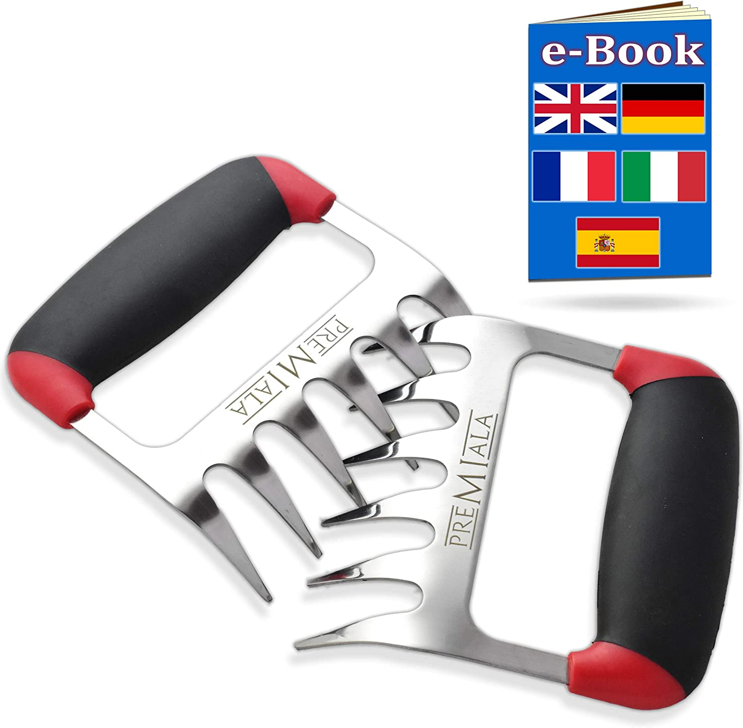 Meat Claws - Incredible 3-in-1 Meat Shredder Claws Stainless Steel! Bear Paws with Soft Rubber Handles for Ultra Comfort –Shreds BBQ Meat Quickly and Easily!