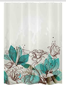 """Ambesonne Turquoise Stall Shower Curtain, Retro Floral Background with Hibiscus Silhouettes Dramatic Romantic Nature Art, Fabric Bathroom Decor Set with Hooks, 54"""" X 78"""", Beige Teal"""