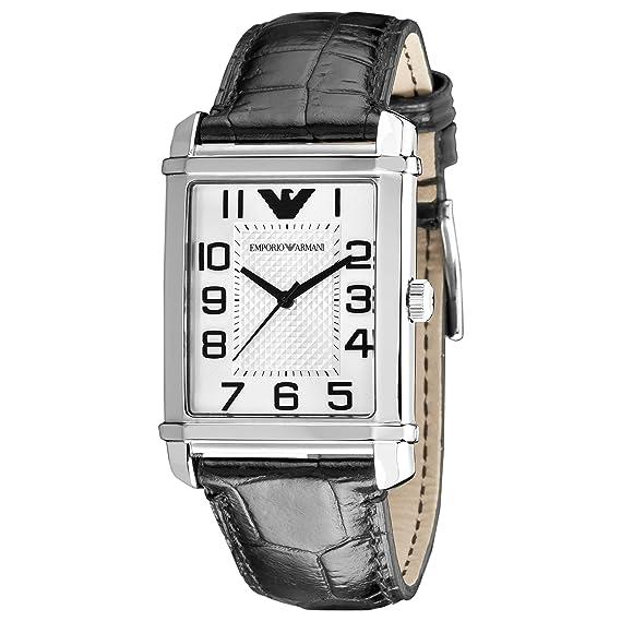 cb93222c4c Emporio Armani Classic AR0487 - Reloj analógico de Cuarzo Unisex, Correa de  Cuero Color Negro: Emporio Armani: Amazon.es: Relojes