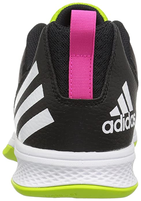 adidas Performance Women's Volley Assault 2 W Volleyball Shoe, Black/Semi Solar Slime/Shock Pink, 11.5 M US