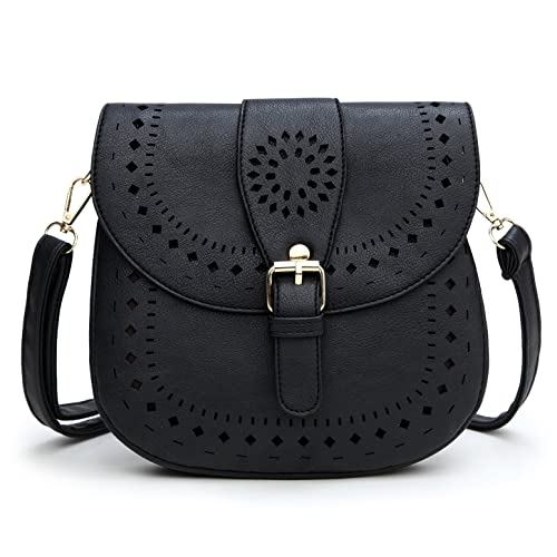 c763c9a8d6 Forestfish Ladie s PU Leather Vintage Hollow Bag Crossbdy Bag Shoulder Bag ( Black)