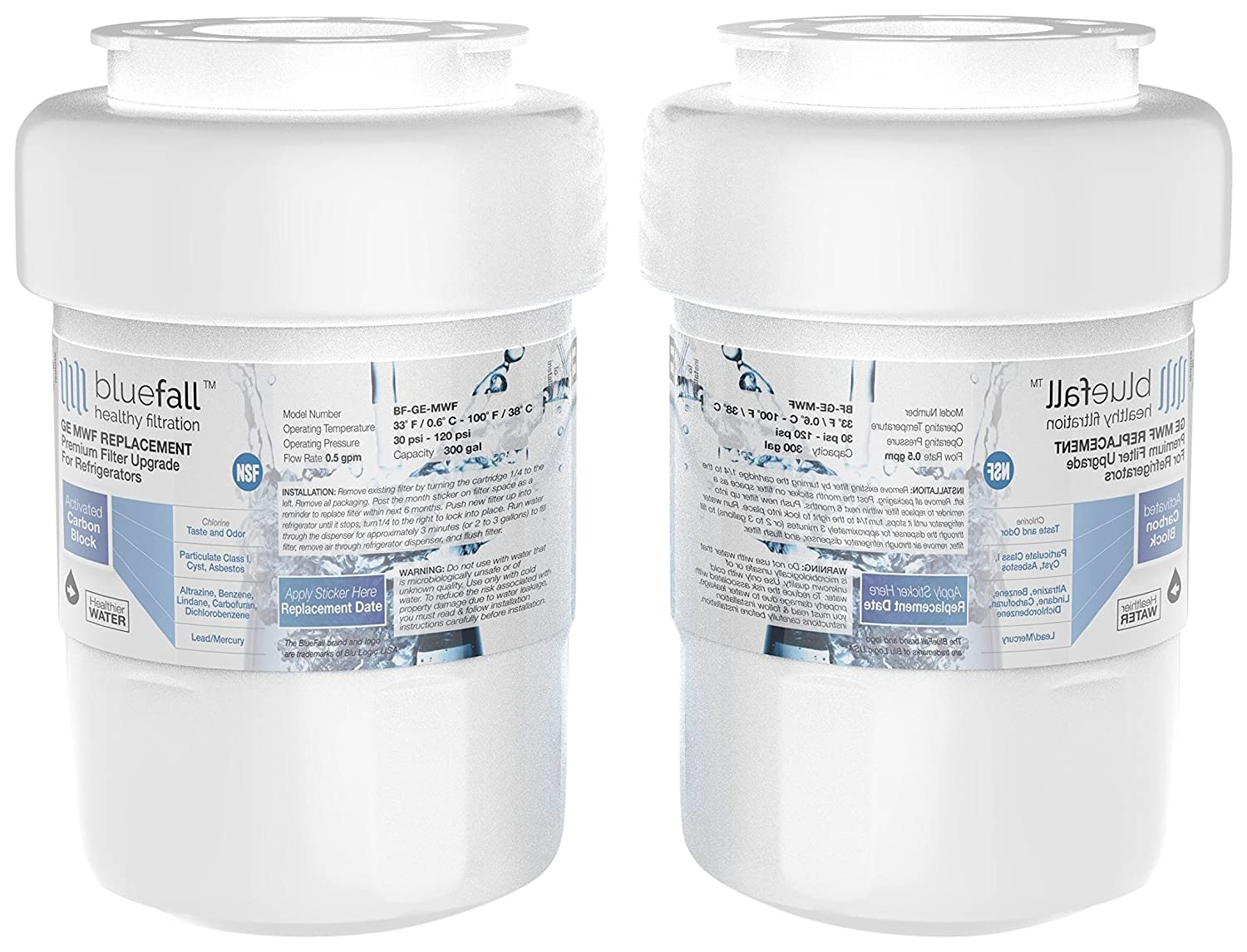 Bluefall GE MWF Refrigerator Water Filter Smart Compatible Cartridge