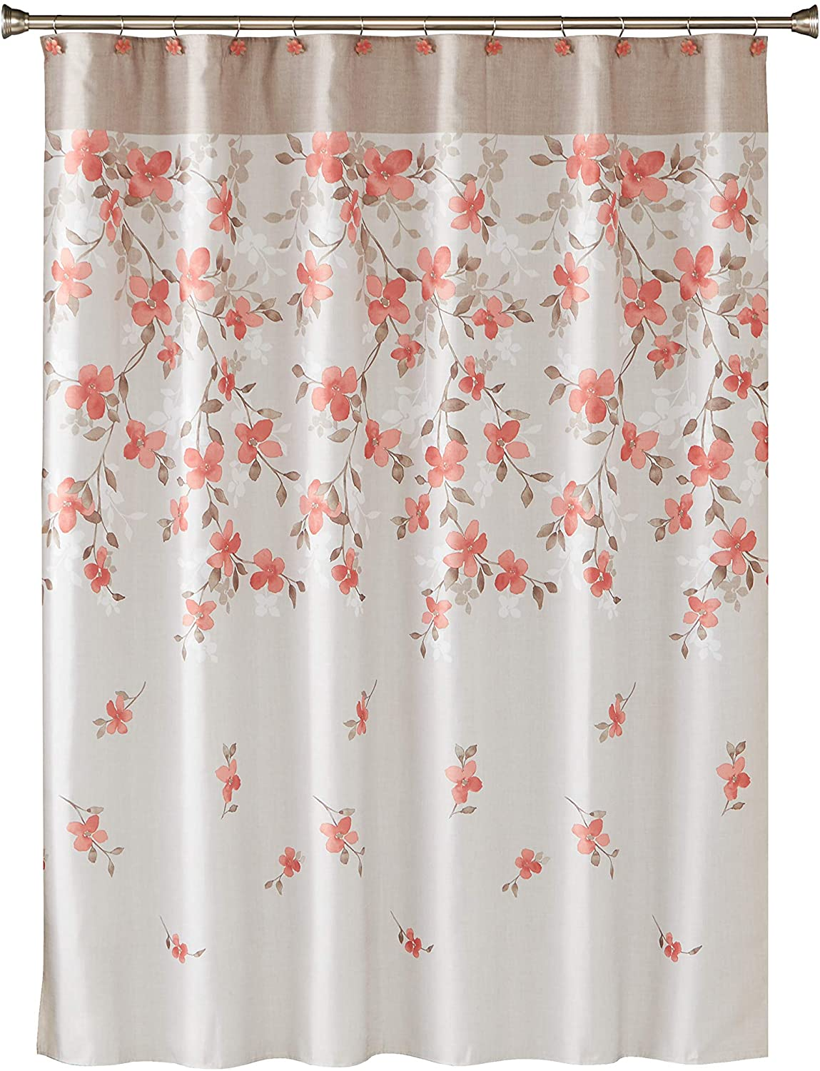 SKL Home by Saturday Knight Ltd. Coral Garden Floral Fabric Shower Curtain, Coral