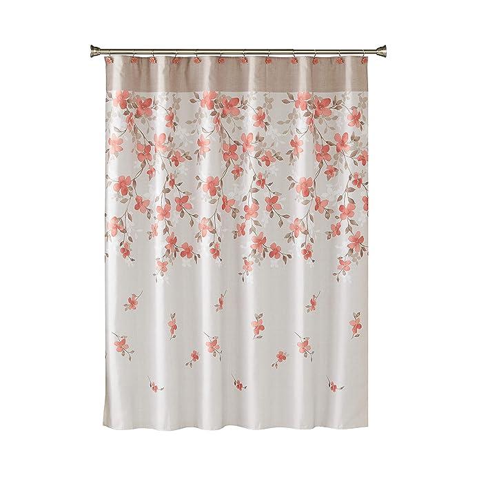 Coral Garden Floral Shower Curtain Coral - Saturday Knight Ltd.