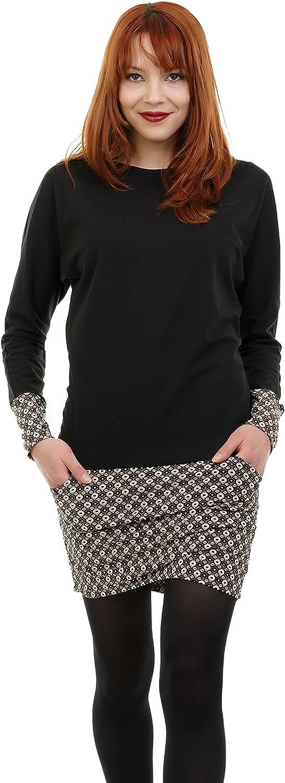 3elfen Robe Pull Femme - Sweat Hiver Robes Avec Des Poches De Rétro Dessin Marron