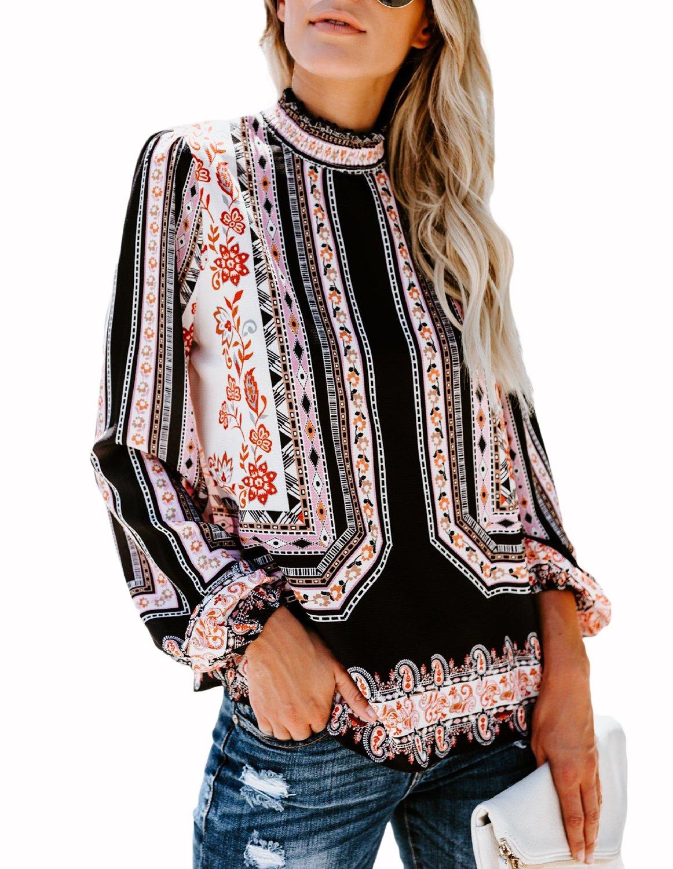 Risesun Womens Vintage Floral Print Ballon Sleeve T Shirts Casual Blouses Tops-Black-S