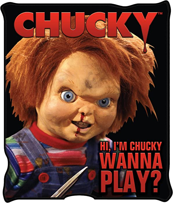 "Silver Buffalo CK0527 Universal Chucky ""Wanna Play"" Raschel Throw, 50 x 60 inches"