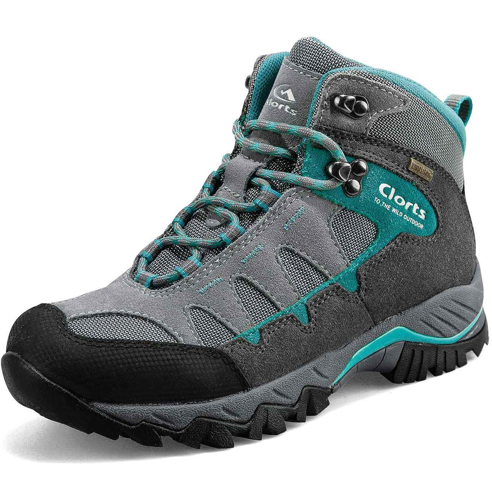 Clorts Women's Pioneer Hiking Boots Waterproof Suede Leather Lightweight Hiking Shoes Grey/Turquoise US Women Size 7.5 Medium Width by Clorts