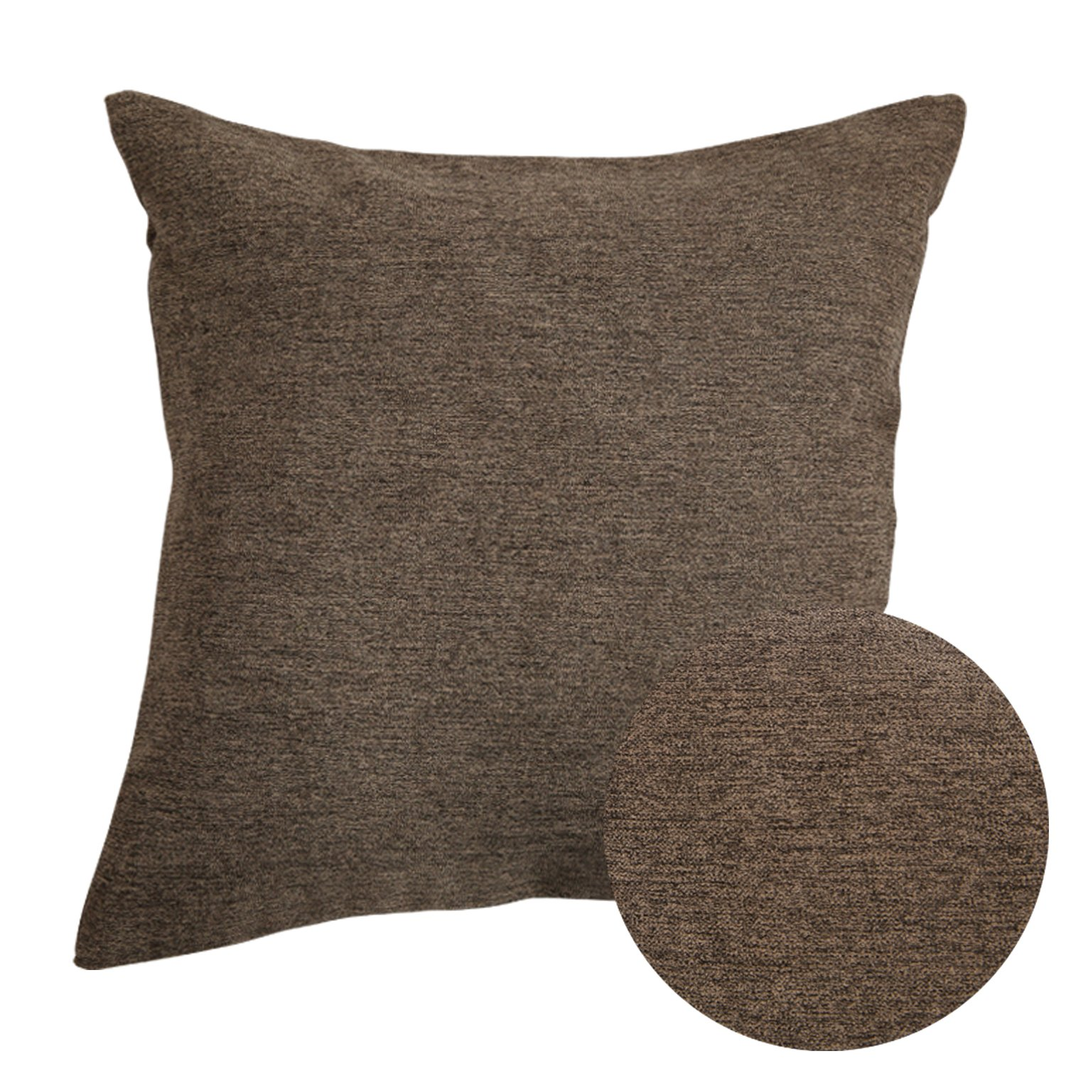 Deconovo Fall Super Soft Melange Fabric Decorative Pillow Cushion Cover with Hidden Zipper for Bed 18 x 18 Inch Chocolate SYNCHKG118720