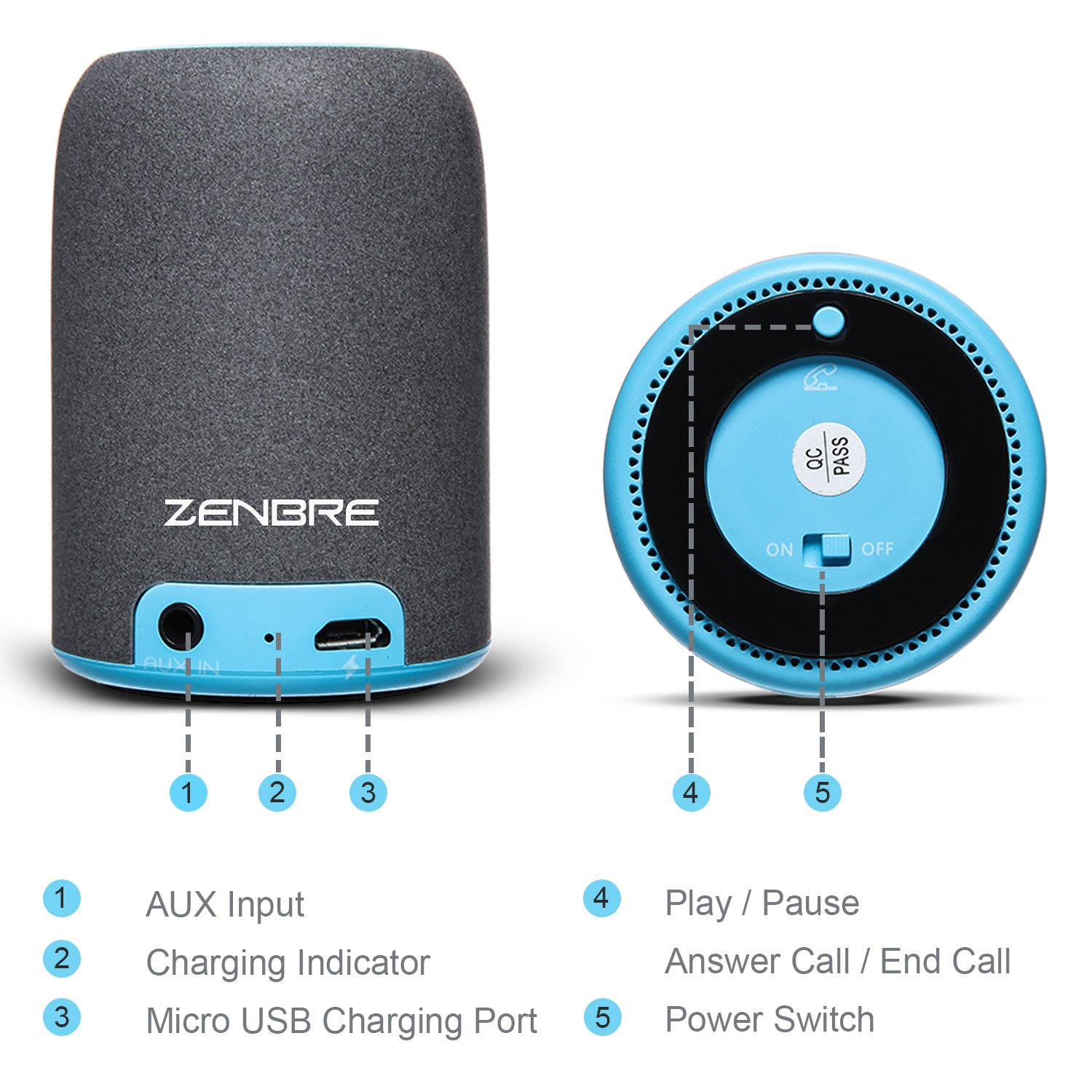 Portable Speakers, ZENBRE M4 Wireless Bluetooth Speakers for Laptop, Tablet, iPhone, Computer Speaker with Enhanced Bass Resonator (Blue) by ZENBRE (Image #7)