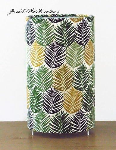 lampe tube motif feuilles exotiques vertes taille