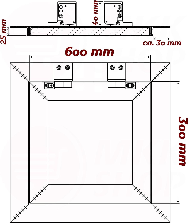 Revisionsklappe GK-Einlage gr/ün 25 mm Gipskarton Revisionst/ür Wartungst/ür Alu 4 200 x 250 mm
