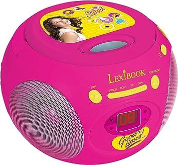 Soy Luna Disney, Altavoz Portátil, (Lexibook RCD102SL) Reproductor de CD para niños, Boombox Auriculares, Conector AUX IN, Radio FM, niña, CA o con