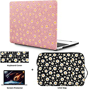 """OneGET Laptop Case for MacBook Air 13"""" Retina (2020 Touch ID) w/Keyboard Cover+Flowers Sleeve+Screen Protector Leather Hard Shell Case A2179 4 in 1 Bundle(2020 A2179 Newest Air 13'', CP02)"""