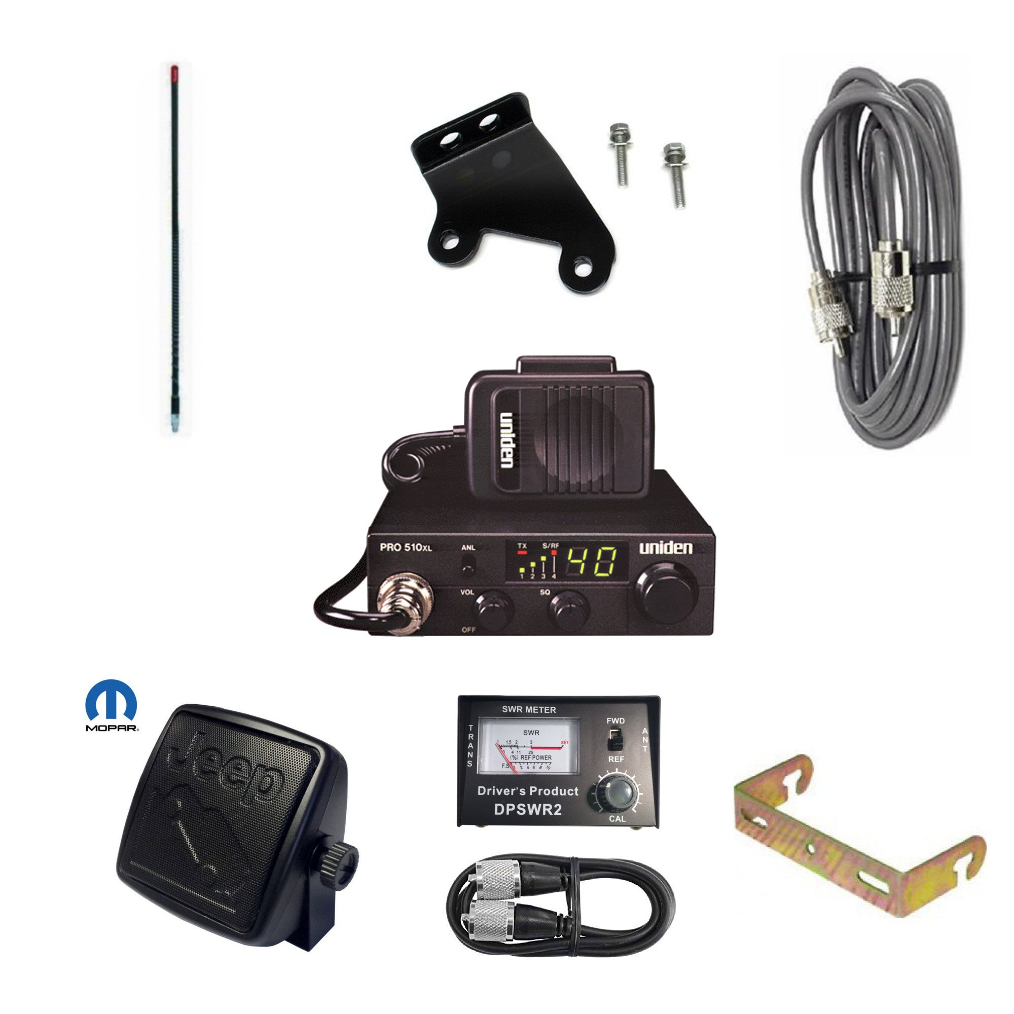 Pro Trucker JK Jeep CB Radio Kit With CB Radio, Firestik Antenna, Radio Mount, Antenna Mount, Stud, Coax, SWR Meter With Jumper Cable, And Mopar Jeep Speaker - Black