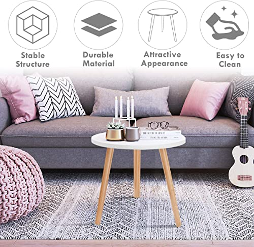 Giantex Round Coffee End Table Dining Living Room Modern Tea Table Furniture Home Sofa Decor Small Spaces Round Side Table