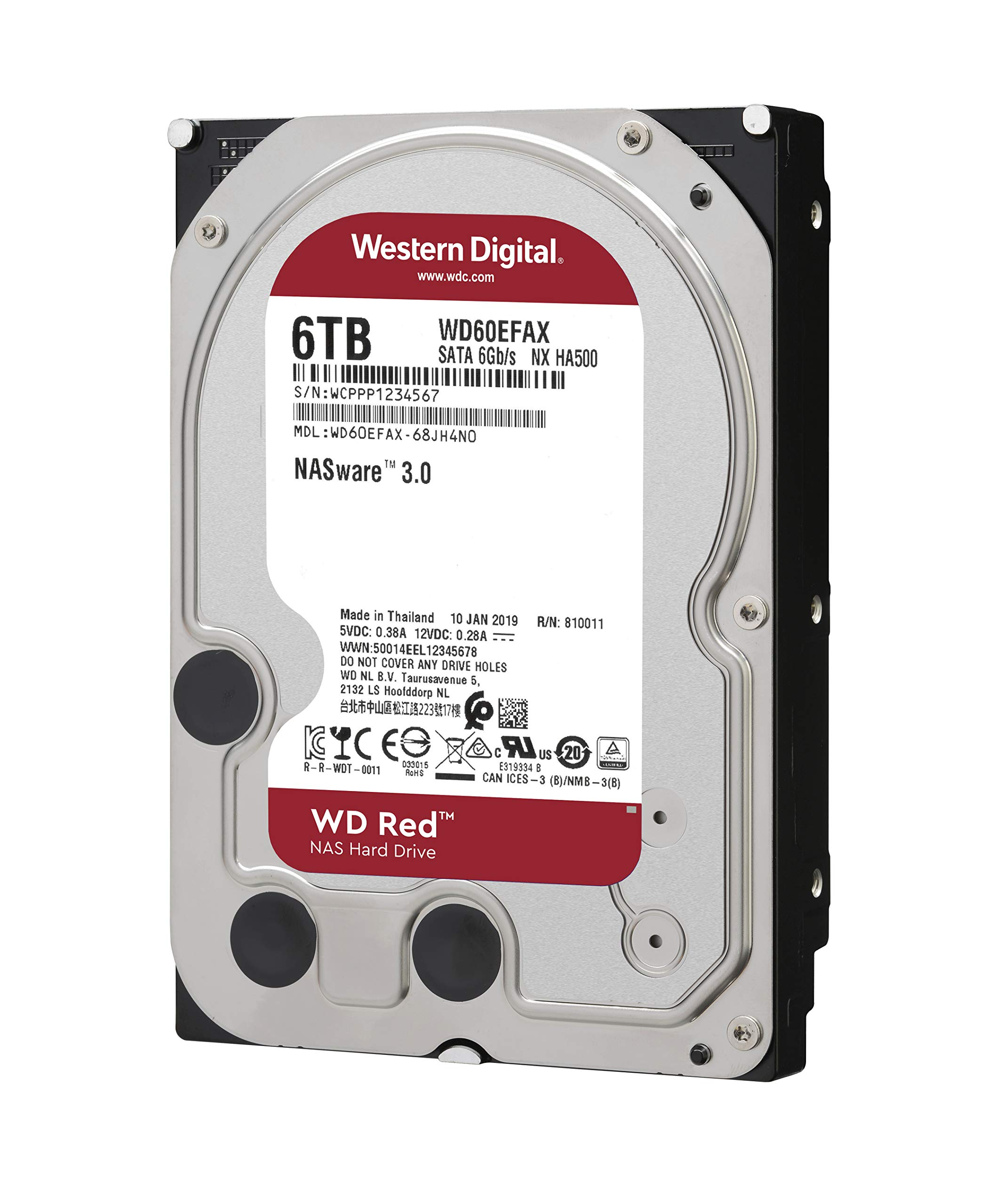 WD Red 6TB NAS Internal Hard Drive - 5400 RPM Class, SATA 6 GB/S, 256MB Cache, 3.5'' - WD60EFAX by Western Digital (Image #2)
