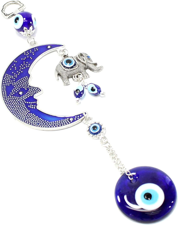Turkish Blue Evil Eye (Nazar) Moon & Elephant Amulet Wall Hanging Home Decor Protection Blessing Housewarming Birthday Gift