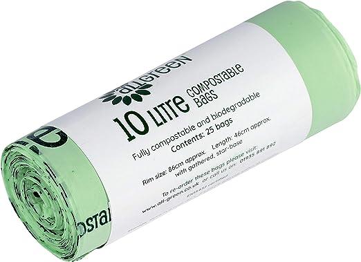 BioBag - 25 bolsas de basura biodegradables compostables de 10 ...