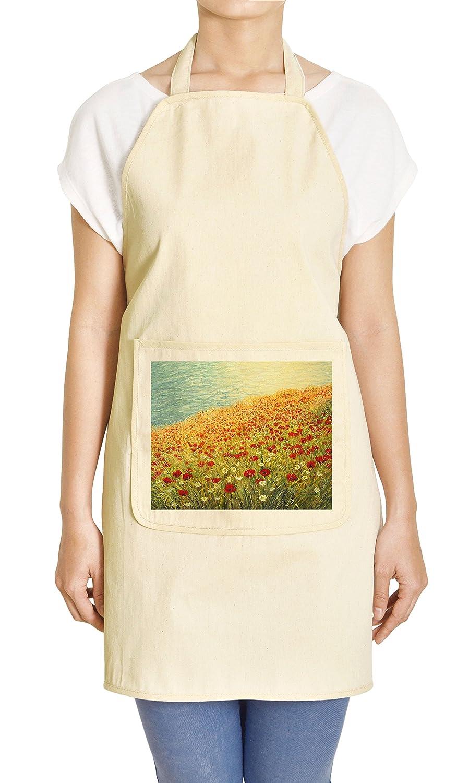 花の油絵抽象印刷カーキキッチンエプロンApr 27 x 32.5インチ APR_011287-9  Red Poppies and White Daisies B013LHFXH8