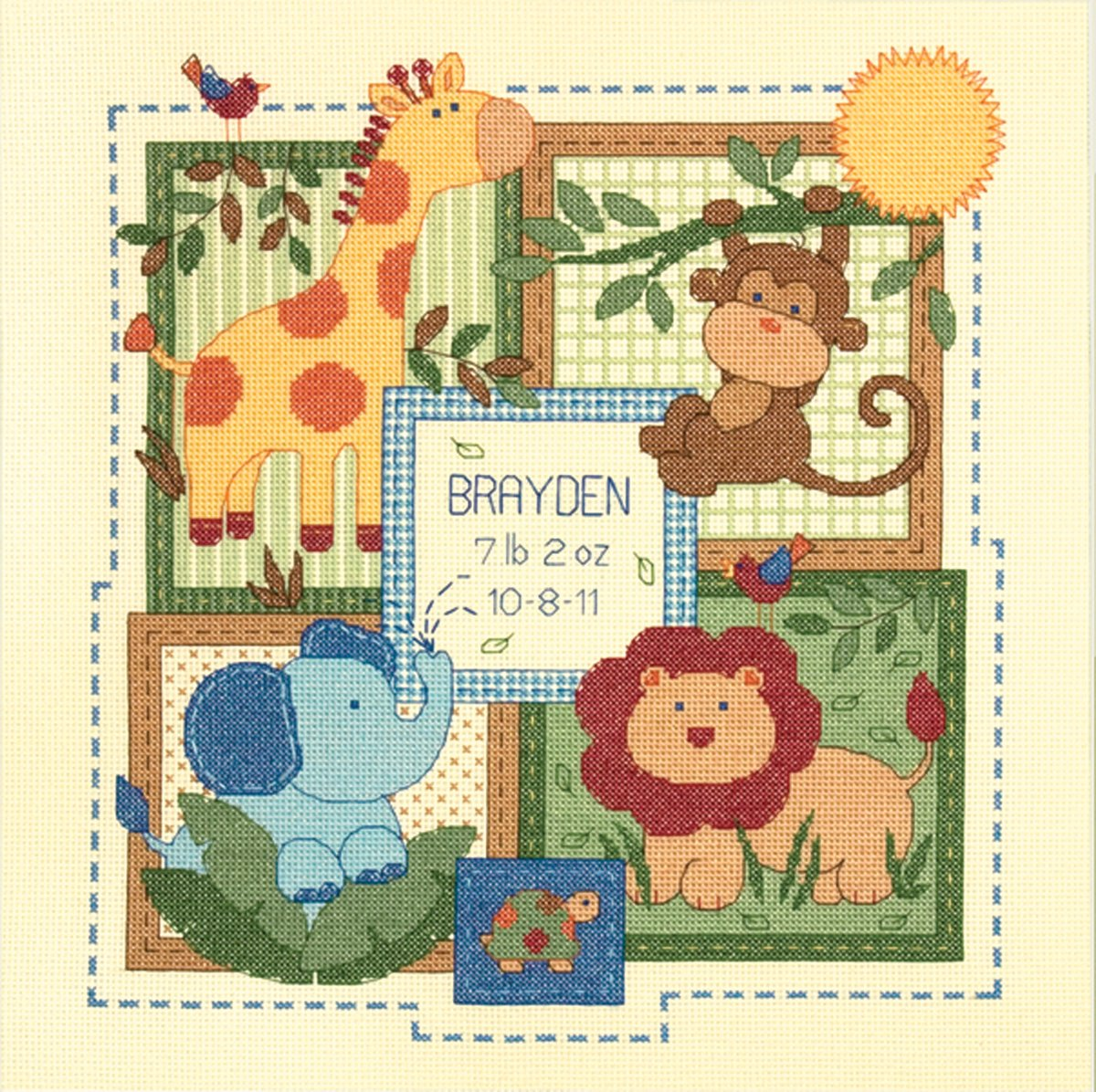 """Dimensions Baby Hugs Baby Blocks Birth Record Counted Cross Stitch Kit-5/""""X7/"""" 14"""