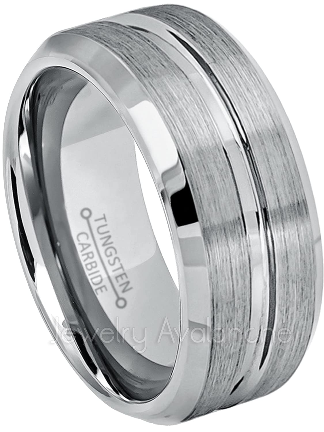 futurepost.co.nz Jewelry Fashion Tungsten Carbide Grooved Ring ...