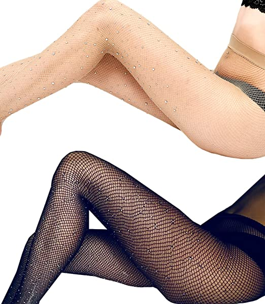 c4b51533a47 Women s High Waist Fishnet Stockings Sparkle Rhinestone Tights of MERYLURE  (One Size