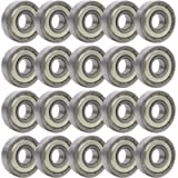 Rollerex 20-Pack, 608Z ABEC-5 Wheel Bearings (for Any Products Using Roller Skate Wheels) (Chrome Steel)