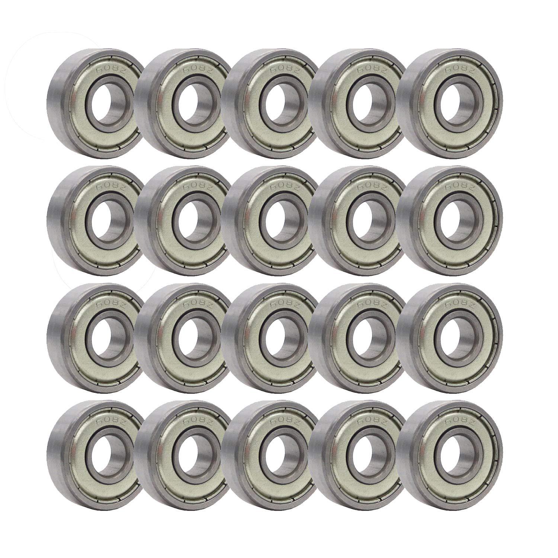 Rollerex, paquete de 20, rulemanes de rueda 608Z (para cualquier producto que use ruedas de patines) (acero cromado)