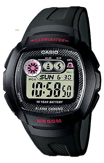 a8dd9c8f84bf Casio W-210-1CVEF - Reloj digital de caballero de cuarzo con correa de  resina negra (cronómetro
