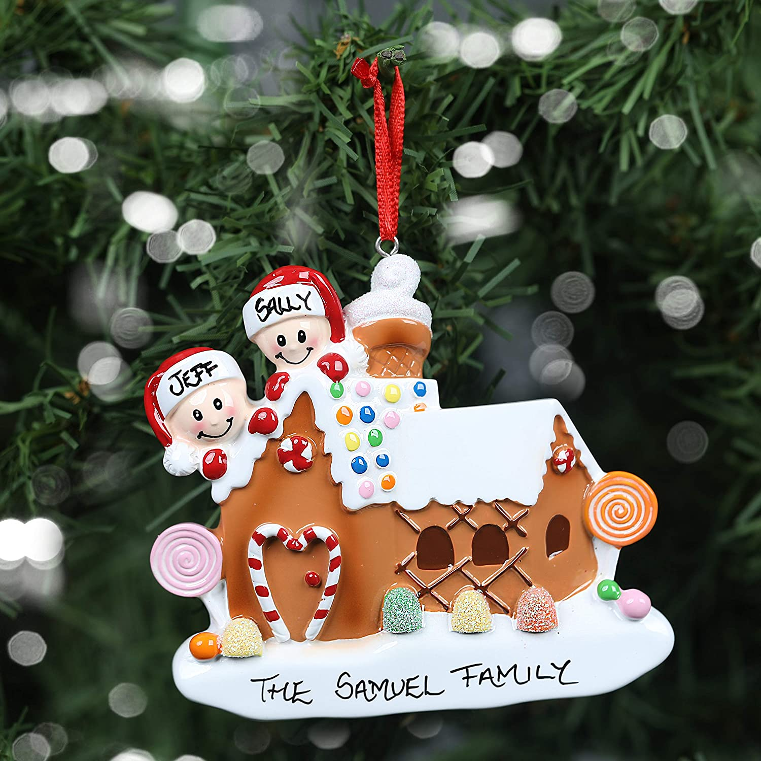 Personalised Hand Crafted Custom Gingerbread House Christmas Tree Decorations Xmas Bauble Ornaments Family of 2,3,4,5 or 6