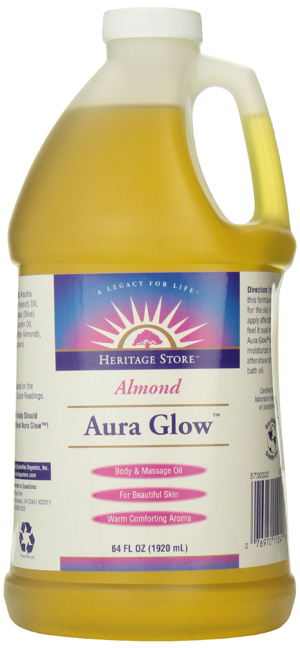 Heritage Store Aura Glow Massage Oil, Almond, 64 Ounce by Heritage Store