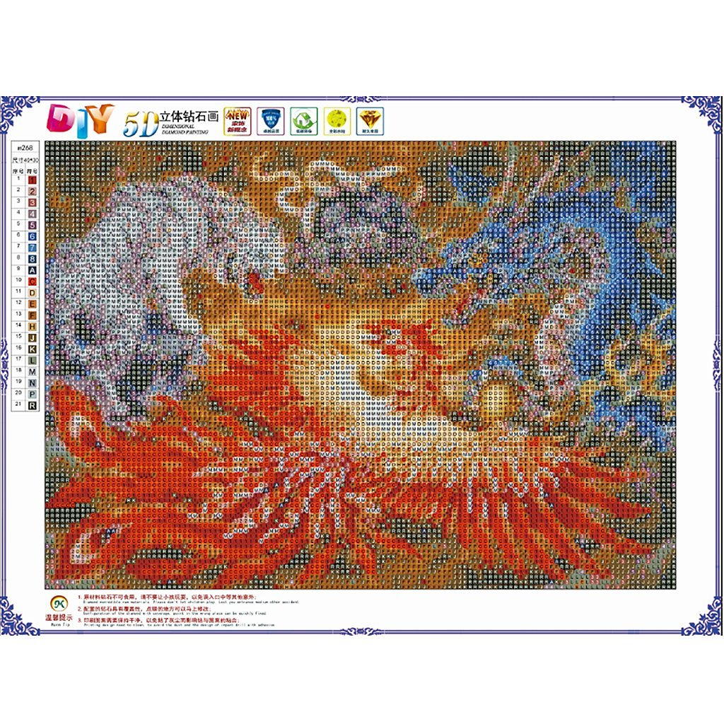 5D Full Diamond Painting Dragon Phoenix Tiger Snake Embroidery Cross Stitch Gift