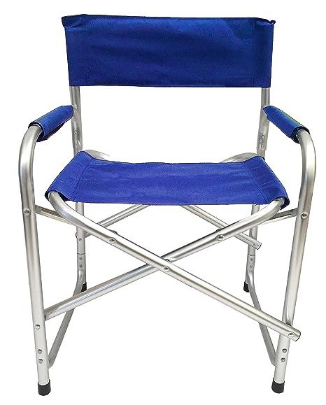 Sedie Pieghevoli Regista Alluminio.Sedia Lido Mare In Alluminio Pieghevole Modello Regista Blu