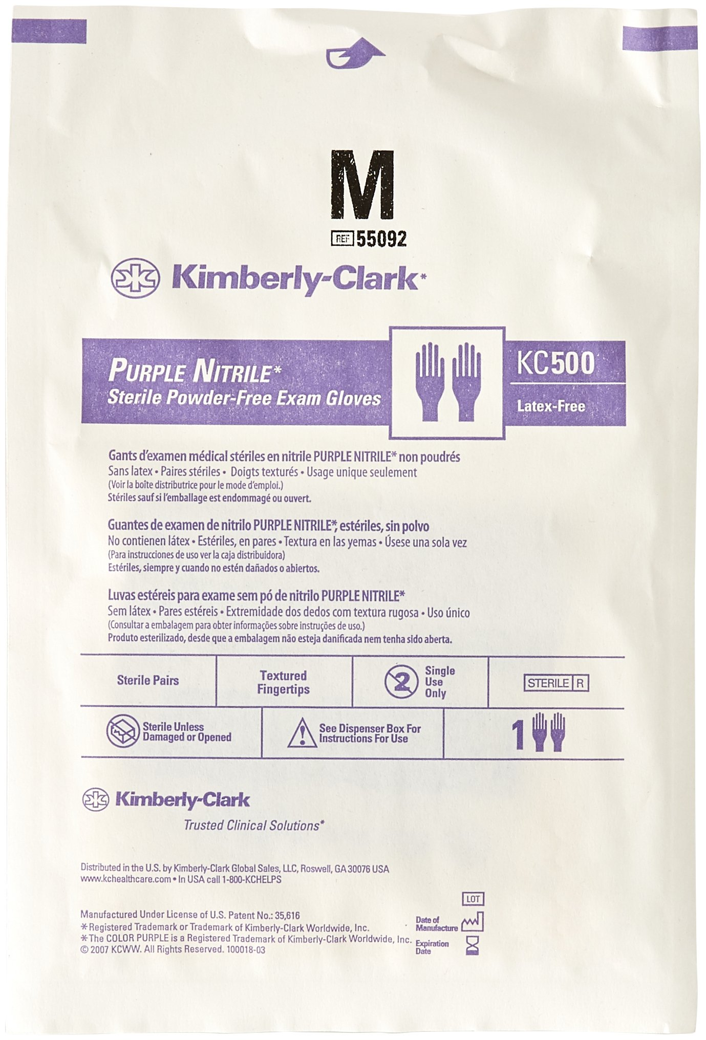 Kimberly Clark Safety 55092 Purple Nitrile Exam Glove, Sterile Pairs, Medium (Pack of 50)