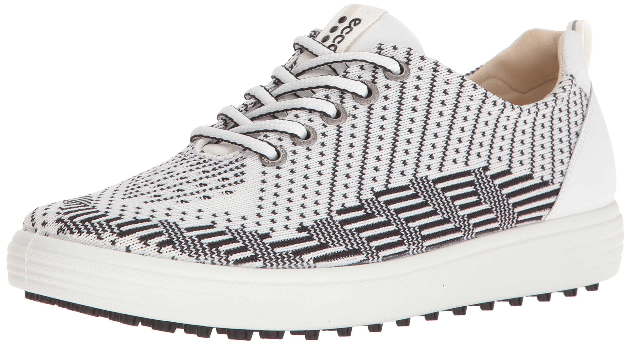 ECCO Women's Casual Hybrid Knit Golf Shoe, White Black/White, 38 EU/7-7.5 M US