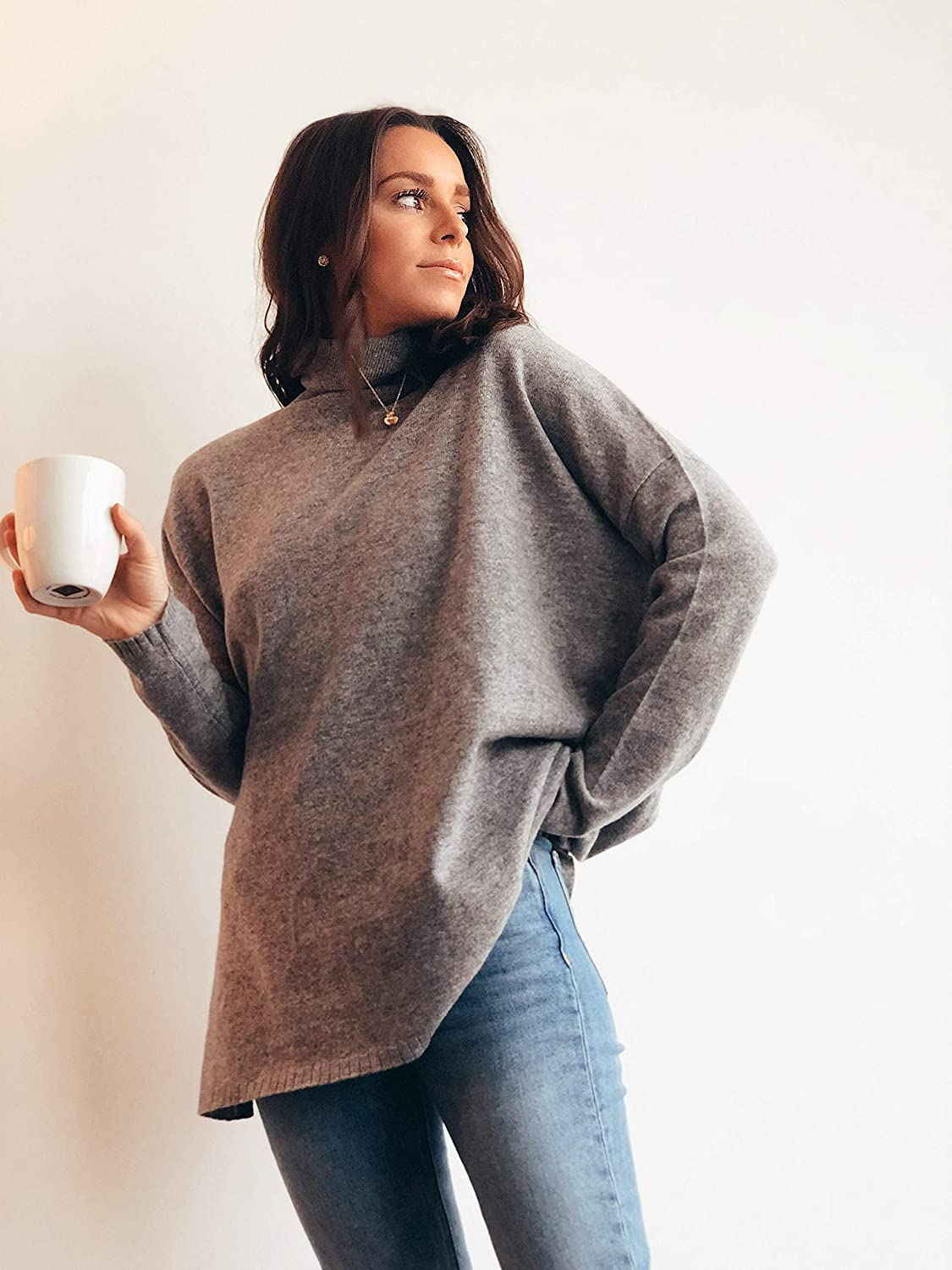 State Cashmere Oversized Rollneck Tunic Jumper 100/% Pure Cashmere Long Sleeve Pullover for Women