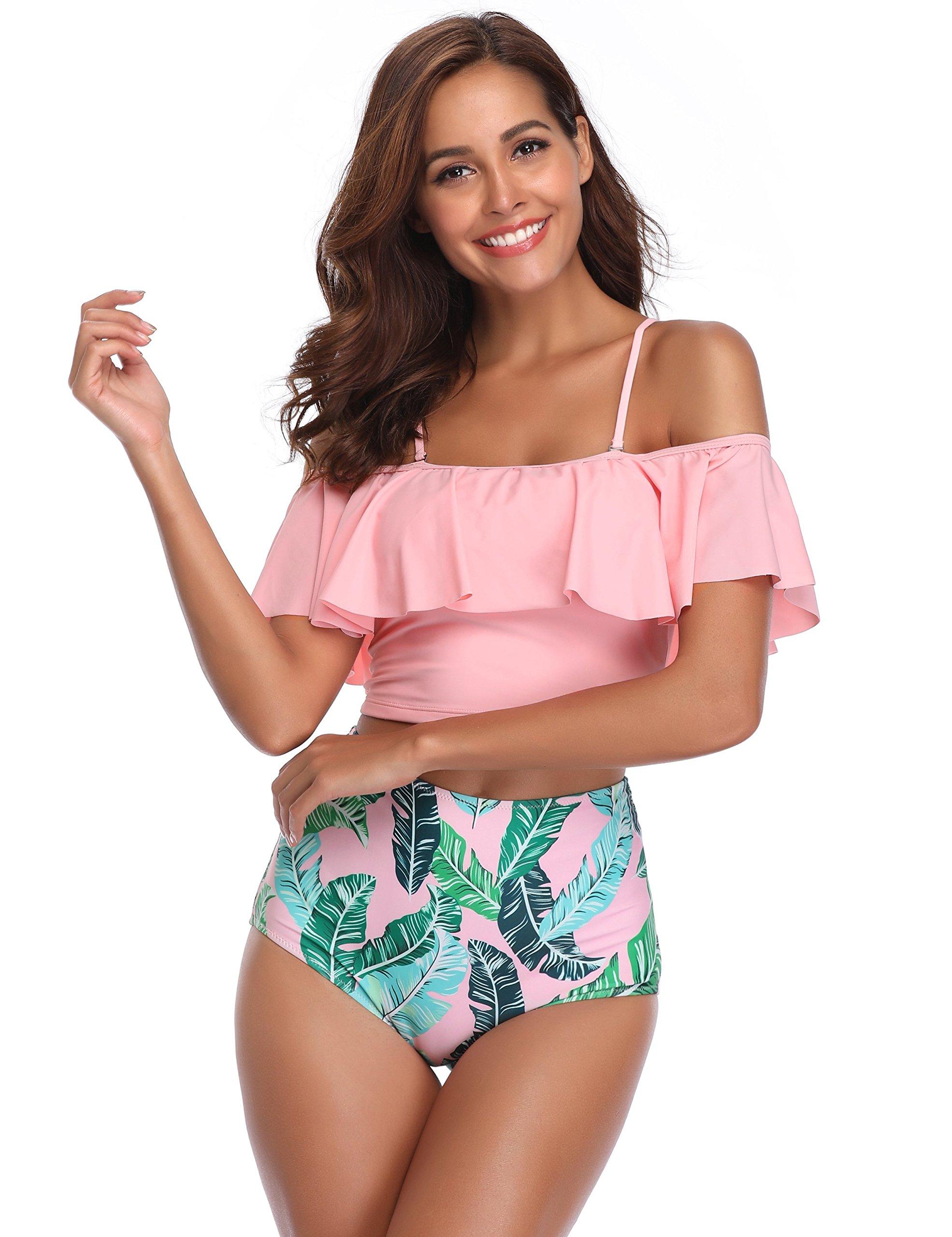 MarinaVida Women Off Shoulder Ruffle Swimsuit Crop Top Two Piece Bathing Suit