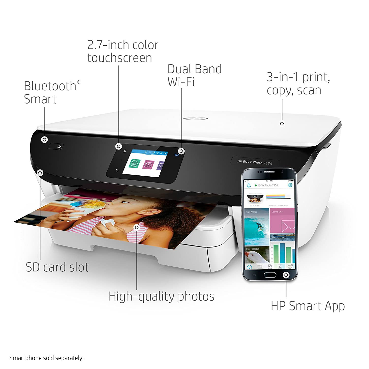 Amazon HP Envy Photo 7155 All In One Printer With Wireless Printing Instant Ink Dash Replenishment Ready