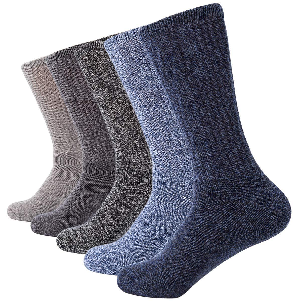 Multicolor AIRSTROLL 5 Pack Crew Socks for Men Women Casual Knit Cotton Dress Socks