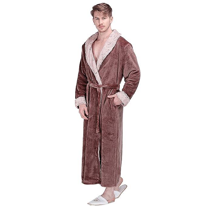 RUILINGSHA Mens Winter Extra Long Warm Flannel Bathrobes Soft Plush Luxury  Kimono Fur Robe at Amazon Men s Clothing store  8bca399bb