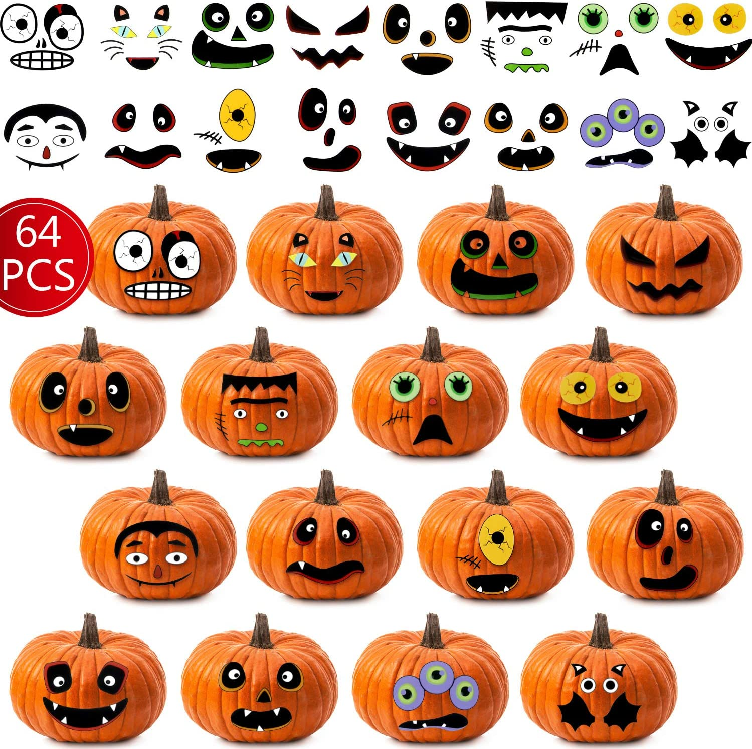 60 Pieces Halloween Pumpkin Stickers Jack O Lantern Pumpkin Decorating Face Stickers for Halloween Trick or Treat Party Favors Decorations