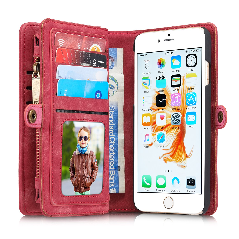 iPhone 6 7 Samsung Galaxy S7 Étui folio Portefeuille en cuir avec fente pour carte, housse de protection avec bouton-pression