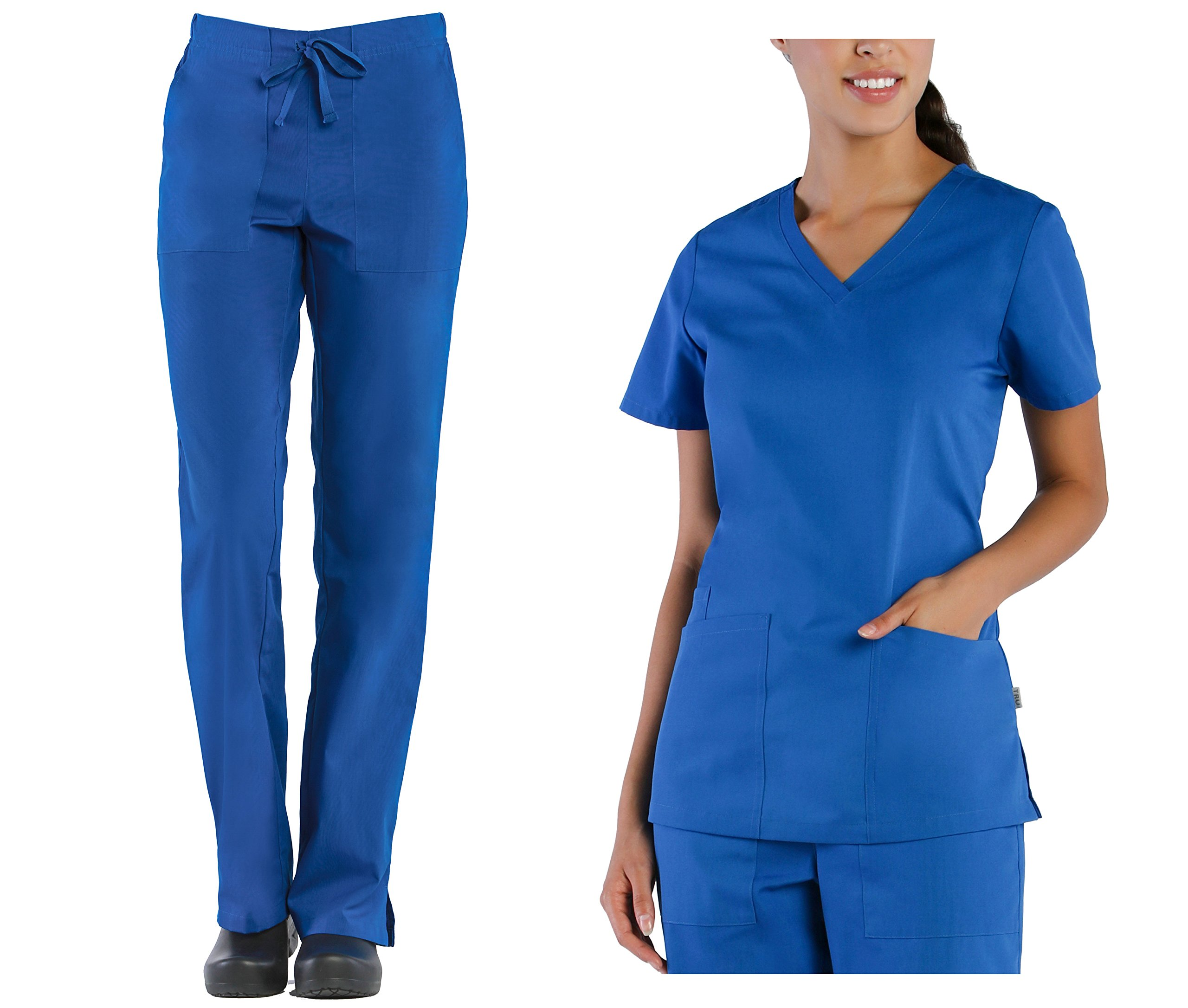 Tru Scrubs Ladies V-Neck Top & Drawstring Half Elastic Pant Scrub Set (X-Small Petite, Royal Blue)