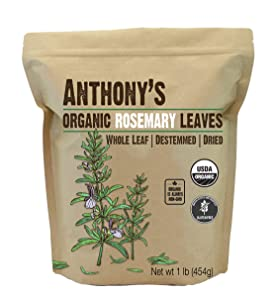 Anthony's Organic Dried Rosemary Leaves, 1 lb, Whole Leaf, Destemmed, Non GMO, Non Irradiated, Gluten Free