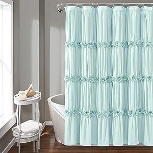 Lush Decor, Blue Darla Shower Curtain-Ruched Floral Shabby Chic, Farmhouse Style Design, x 72