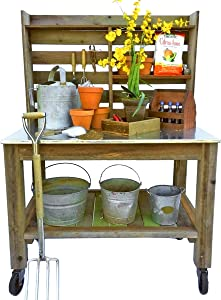 EST. LEE DISPLAY L D 1902 Potting Bench Buffet Table Island Workbench Outdoor Patio Garden Furniture Wood Rolling Cart & Zinc Table-Top w/Black Iron Castors & Brakes