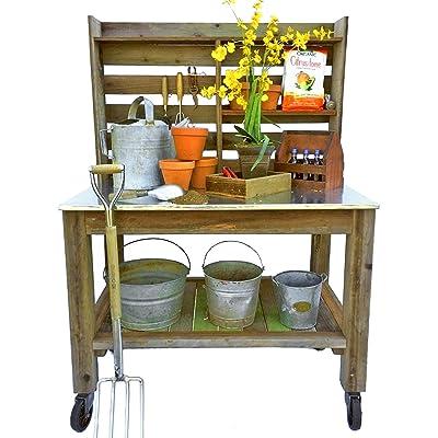 LEE DISPLAY L D 1902 Potting Bench Buffet Table Island Workbench Outdoor Patio Garden Furniture Wood Rolling Cart /& Zinc Table-Top w//Black Iron Castors /& Brakes EST