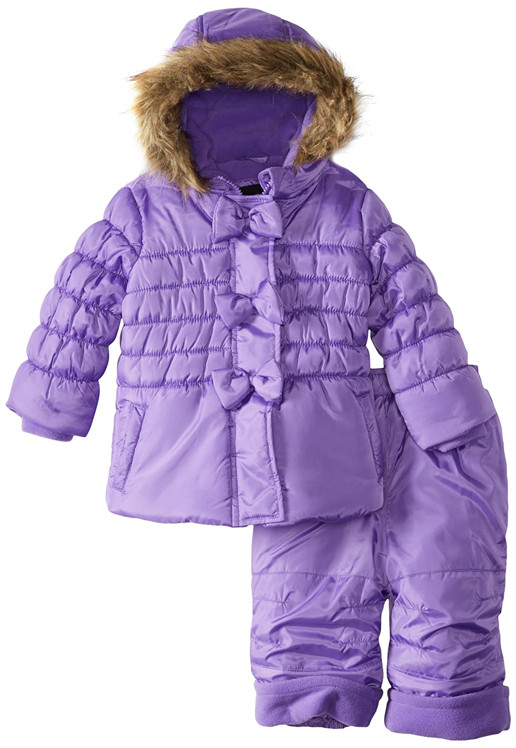 801fb4c919a2 Rothschild Baby Girls  Peplum Bubble Snowsuit with Bow Trim